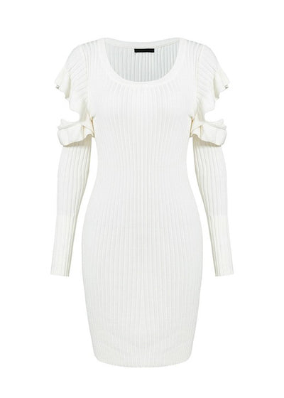 Madilynn Bodycon Cold Shoulder Sweater Dress