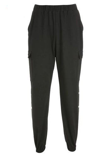 Black Side Button Sweatpant