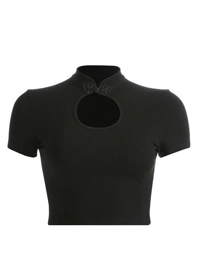 Black Hollow Out Front Cropped T-Shirt