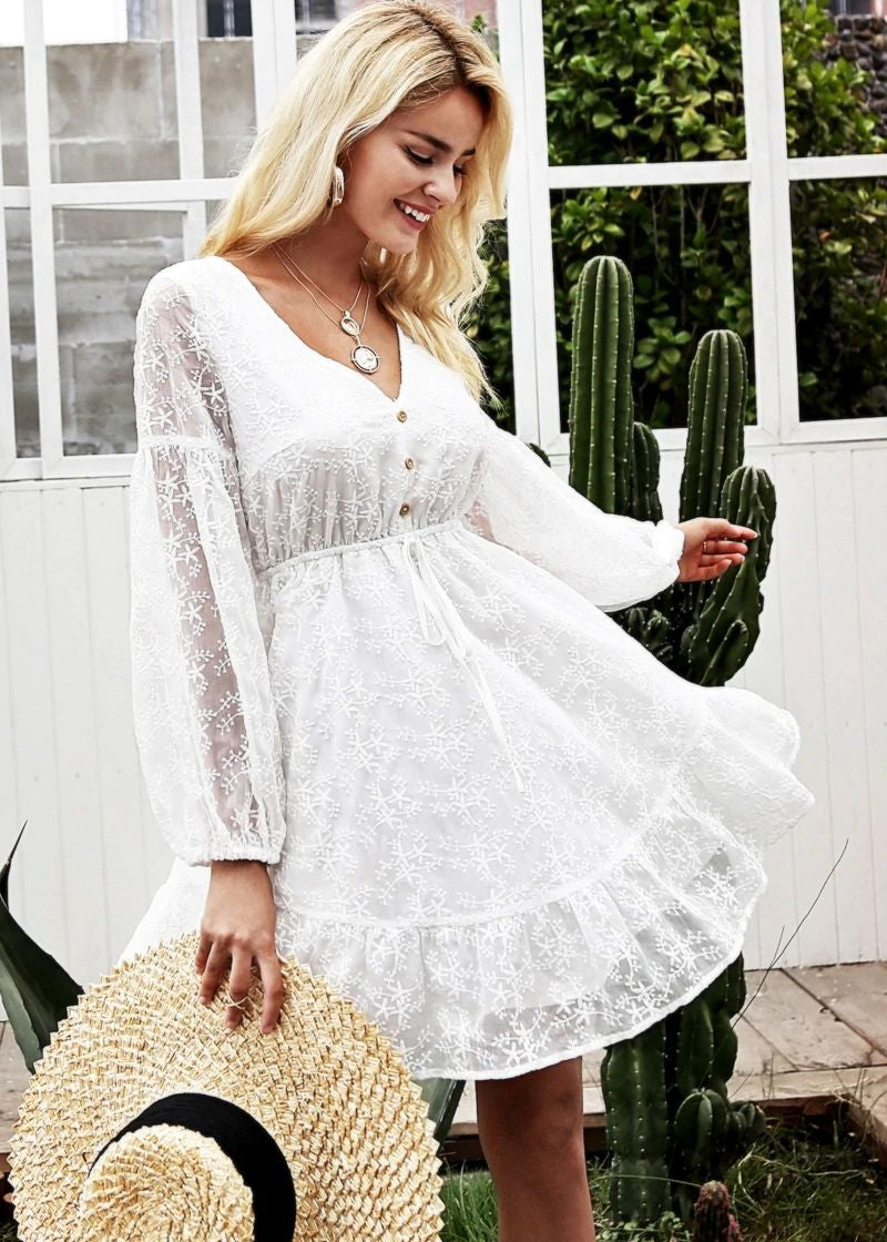 Royalty V-Neck Lantern Sleeve Lace Dress