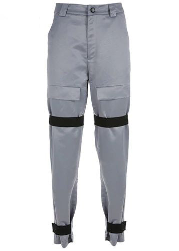 Gray Zipper Beamed Cargo Pant