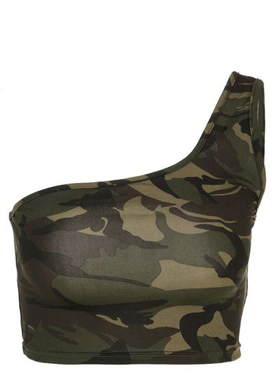 Strapless Camouflage one Shoulder Tank Top
