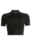 Black Slim Front Cut Out Cropped T-Shirt