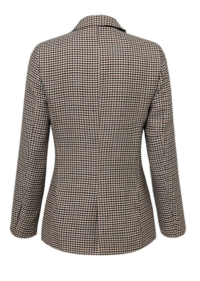 Jayde Plaid Breasted Long Sleeve Slim Coat