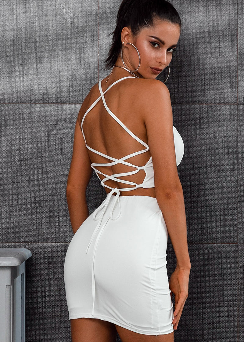 Backless Spaghetti Strap Short Dress