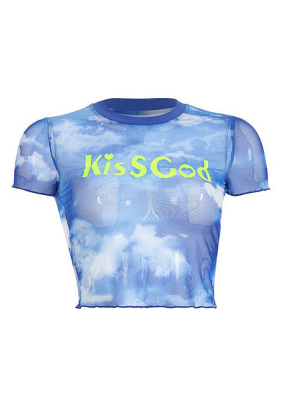 Blue Sky And Cloud Letter Print Mesh T-Shirt