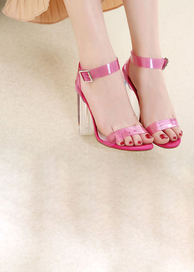 PVC Block High Heels Crystal Transparent Sandals
