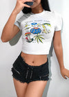 White Floral Print Cropped T-Shirt