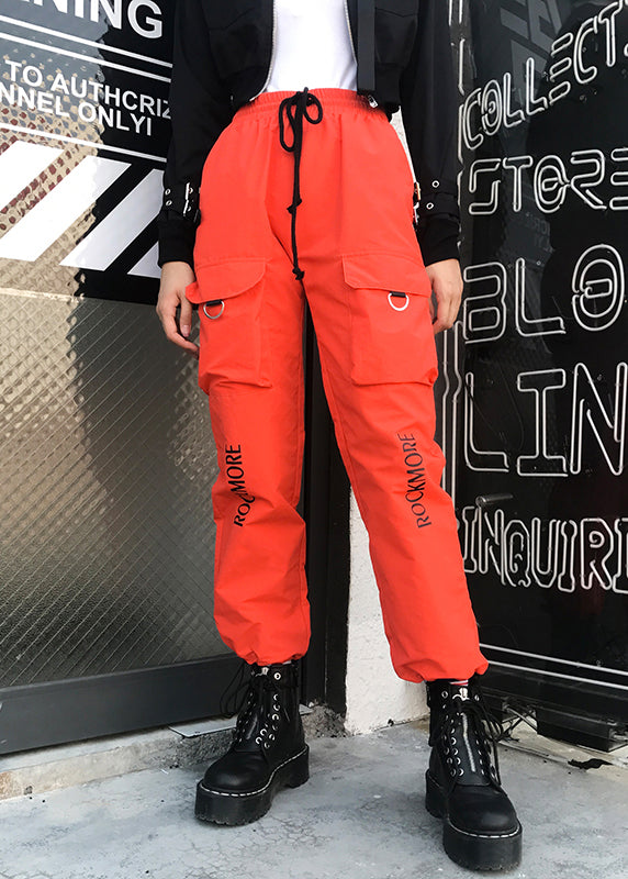 Orange High Waist Panelled Sweatpant