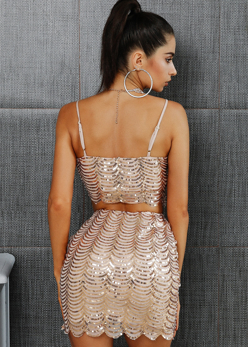 Shiny V-neck Sequin Short Dress