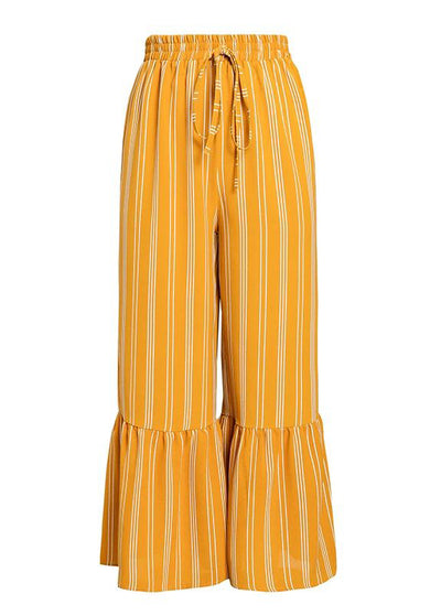 Winnie Stripe Ruffled Flare Long Pant