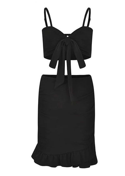 Halter Pleated Bow Tie Bodycon Short Dress