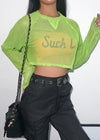 Green Fishnet Transparent T-Shirt