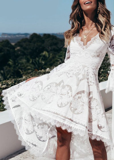 Flare Sleeve Irregular Lace Ruffle Short Dress