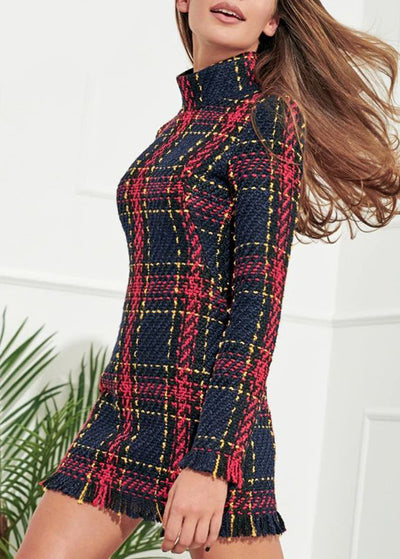 Plaid Warm Tassel Short Dress