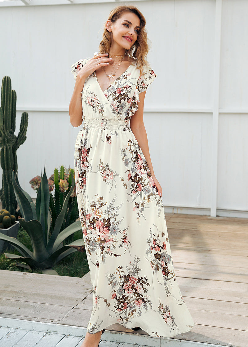 Tessa Ruffle Backless Bow Long Dress