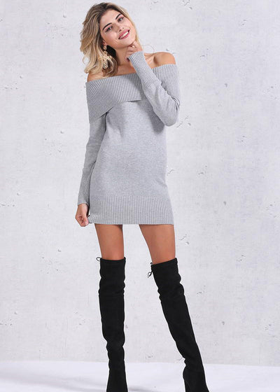 Janiyah Knitted Off Shoulder Sweater Dress