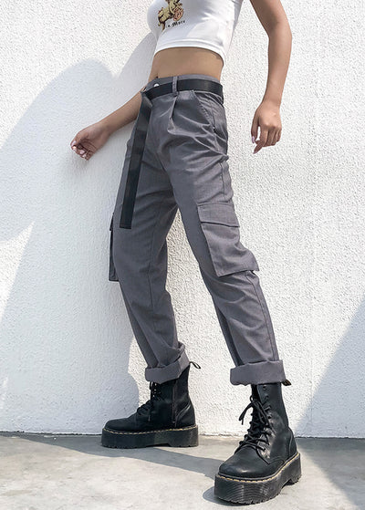 Gray Elegant High Waist Straight Pant