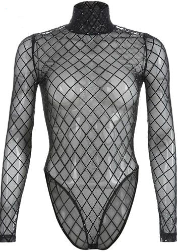 Plaid Turtleneck Transparent Mesh Bodysuit