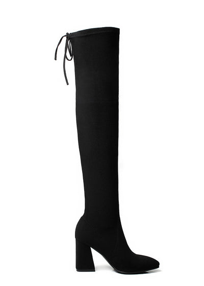 Thigh High Stretch Fur Over The Knee Boots