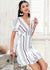 Virginia V-neck cotton stripe ruffle Dress