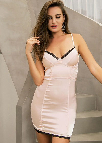 Satin Halter V-neck Sleeveless Short Dress