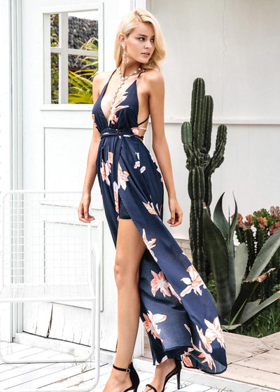 Arielle Deep V-neck Backless Long Dress