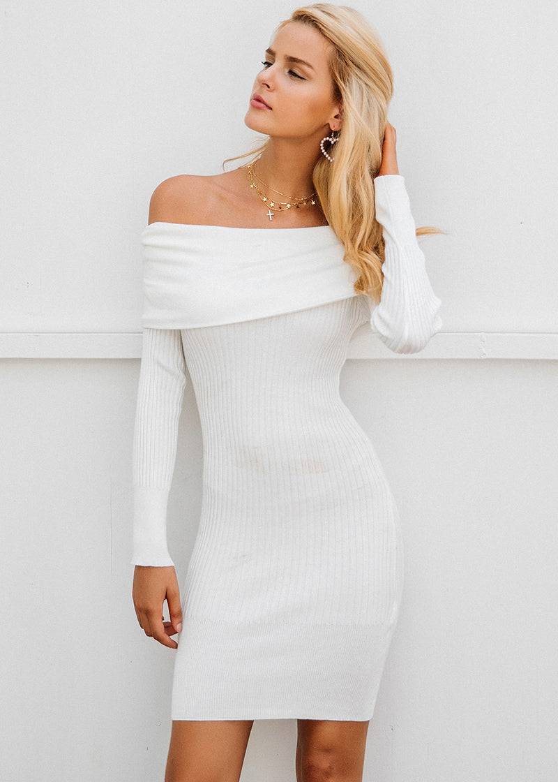 Jazmine Knitting Off Shoulder Sweater Dress