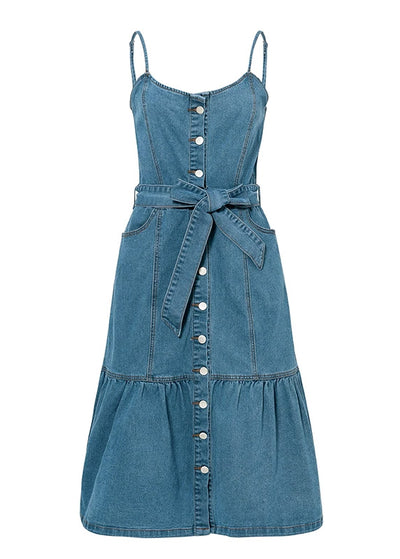 Olivia Denim Bow Sash Long Dress