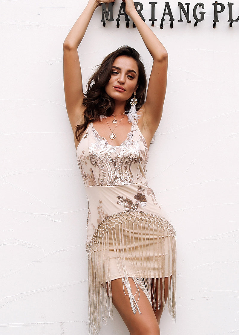 Tassel Mesh Sequin Short Dress