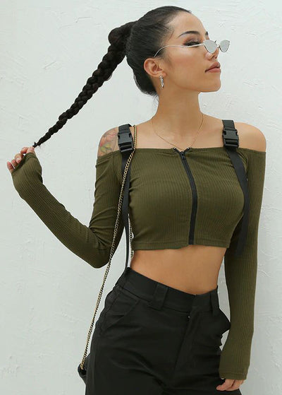 Slash Neck Long Sleeve Crop Top T-Shirt