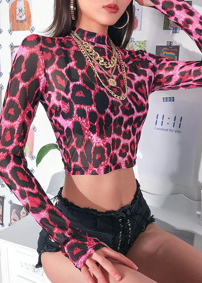 Vogue Pink Leopard Crop Top T-Shirt
