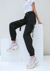 Black High Waist Cargo Sweatpant