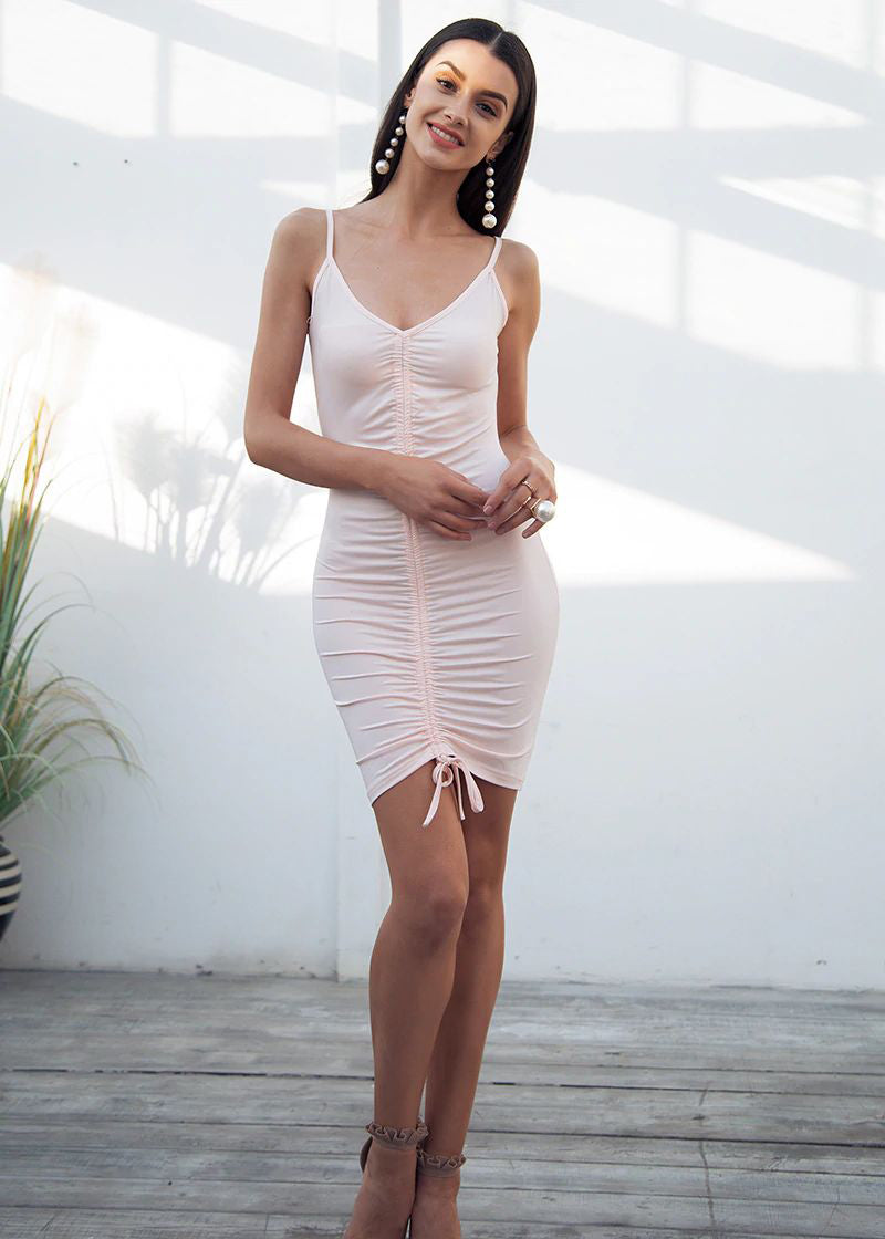 Katie Backless Strap V-Neck Lace Dress