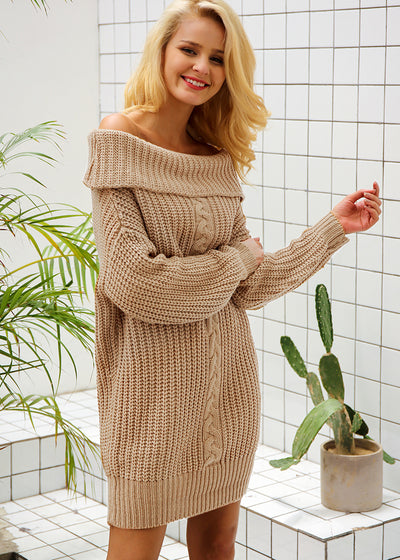 Kelly Knitted Off Shoulder Sweater Dress