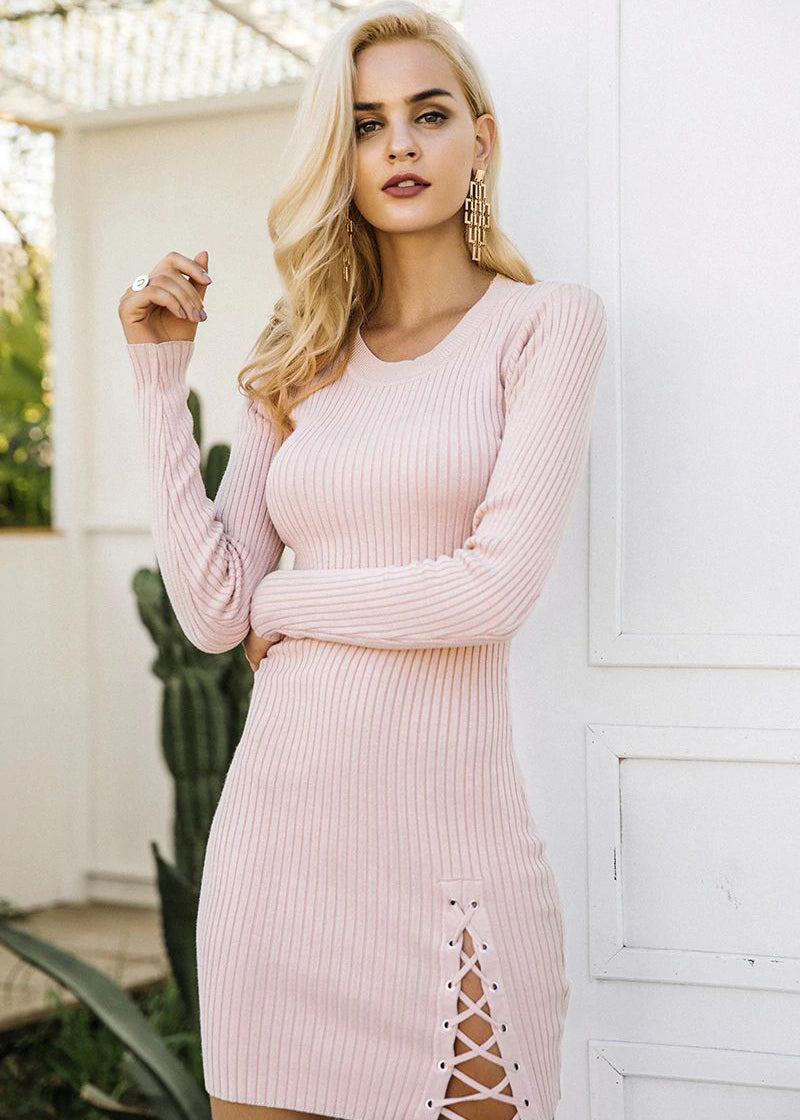 Bailee Knitted Lace Up Sweater Dress