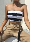 Strapless Off Shoulder Buckle Belt Top