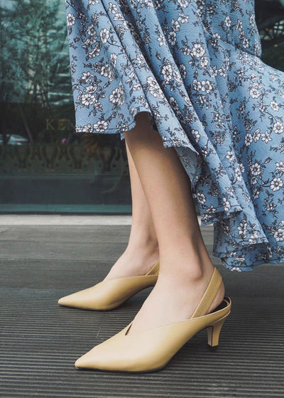 Elegant Pointed Toe Slip On Low Heel Pumps