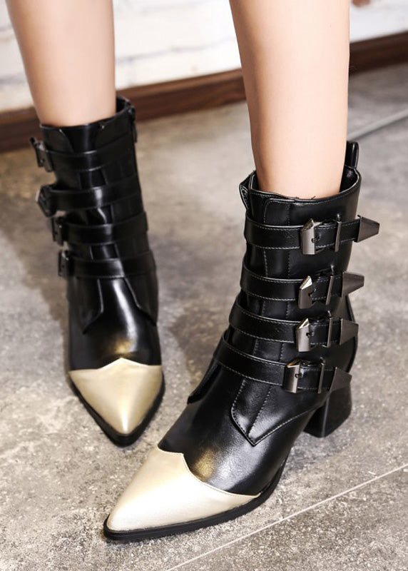 Buckle Strap Patchwork Stiletto Mid Calf Boots