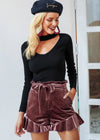 Corinne Lace Up Vintage Velvet Short Skirt