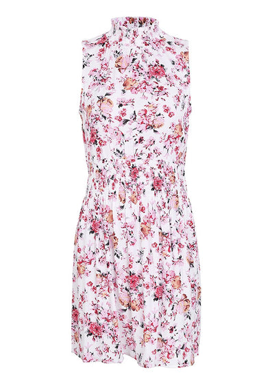 Sleeveless floral Elastic waist Short Dress