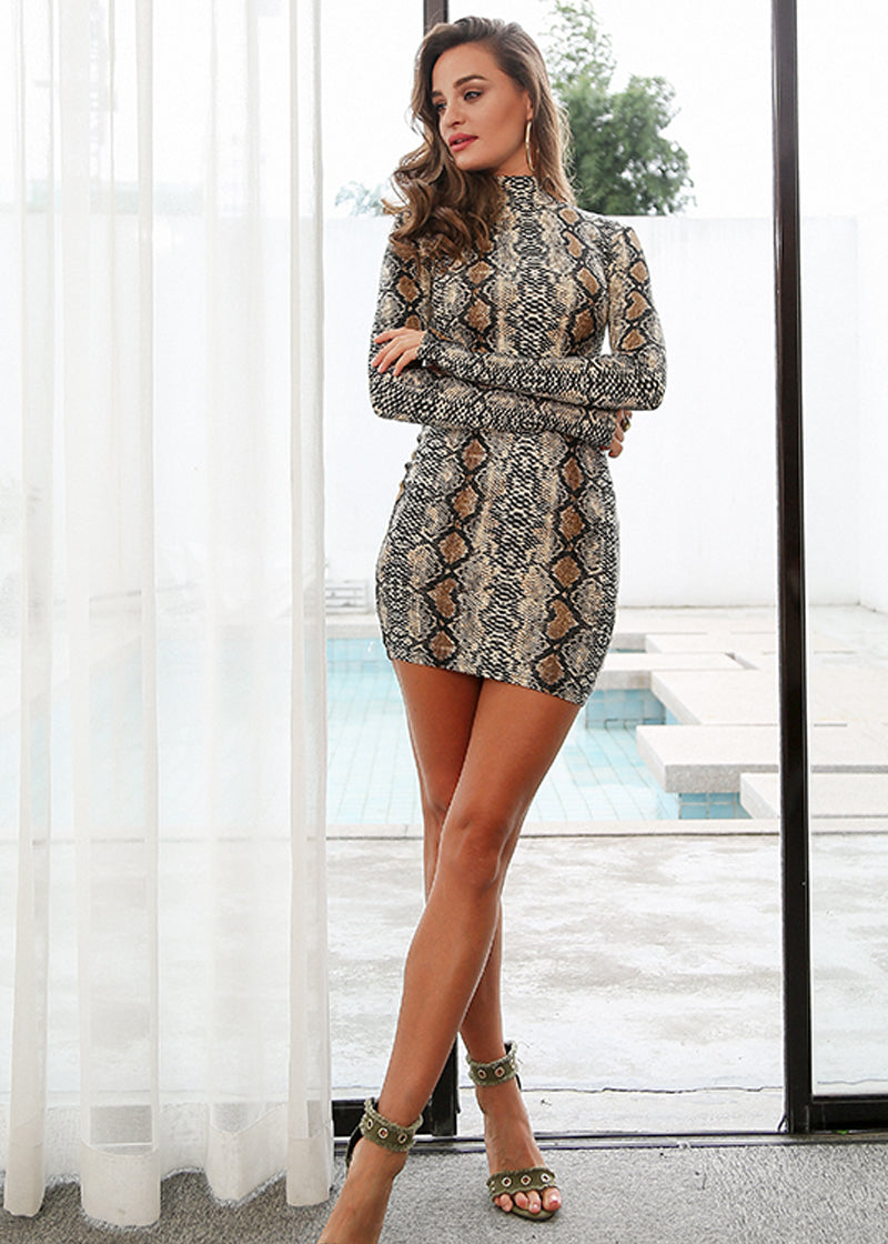 Turtleneck Bodycon Snake Print Short Dress