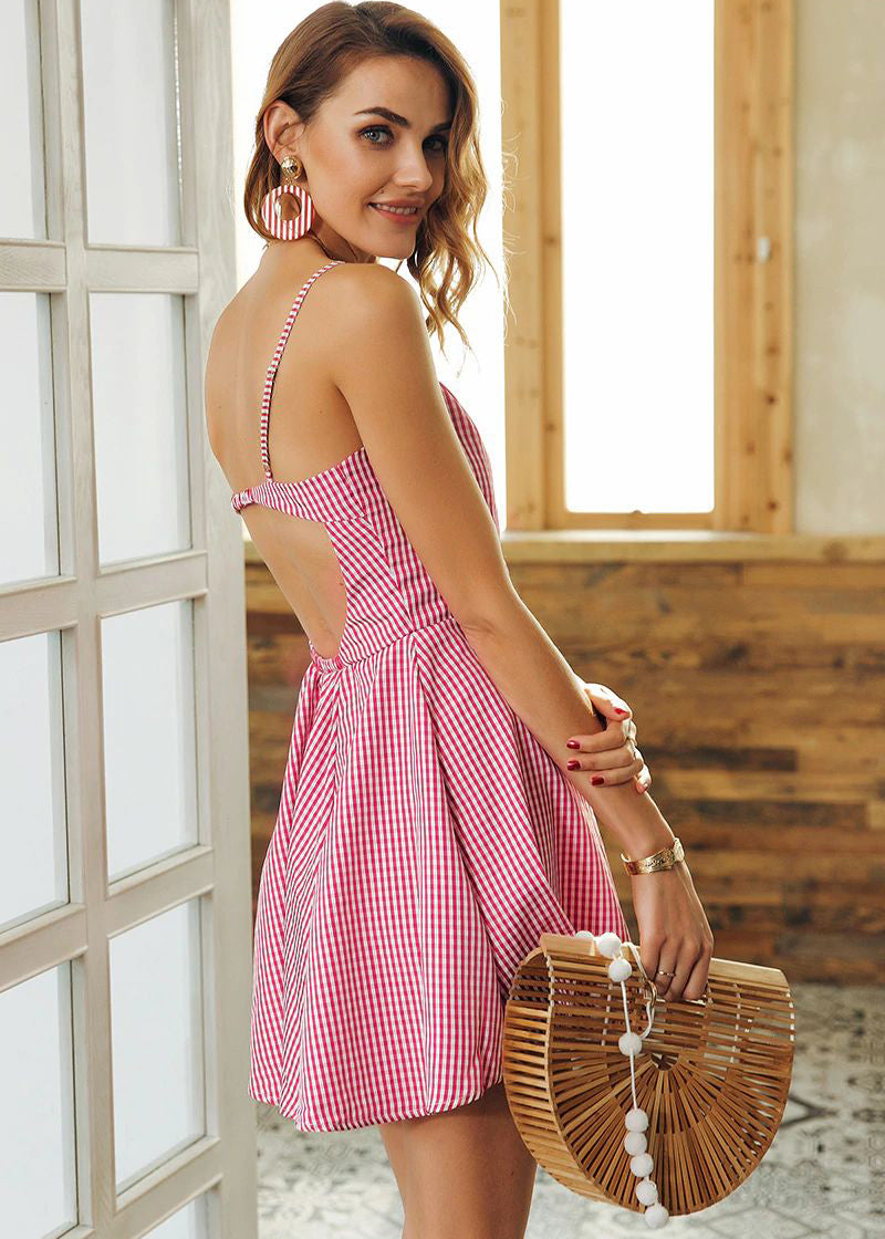 Mckinley Backless Strap Pattern Dress