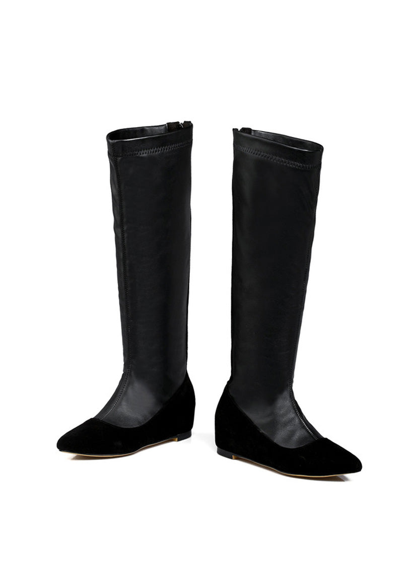 Height Increasing Zipper Plush Knee High Boots