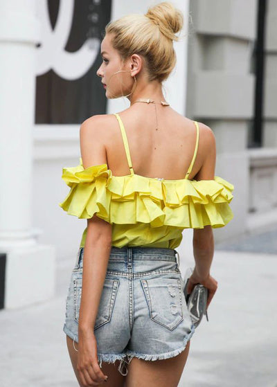 Cara Ruffle Sleeveless Backless Top