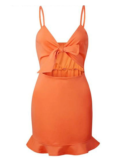 Ruffle Hollow Out Bow Short Dress