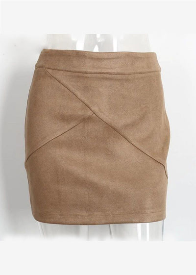 Ansley Vintage Zipper Bodycon Leather Skirt