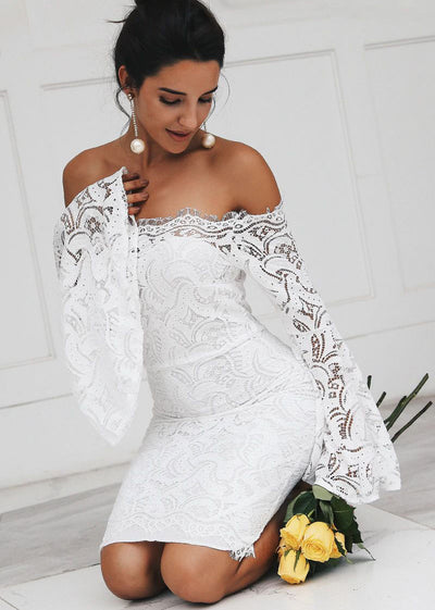 Flare Sleeve Off Shoulder Lace Short Dress