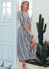 Carly V-Neck Button Maxi Pattern Dress