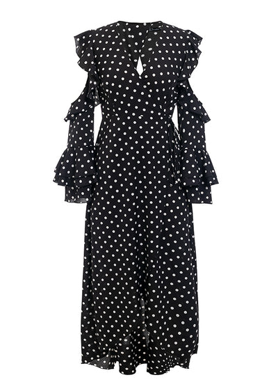 Kaisley Ruffle Dot Print Maxi Dress